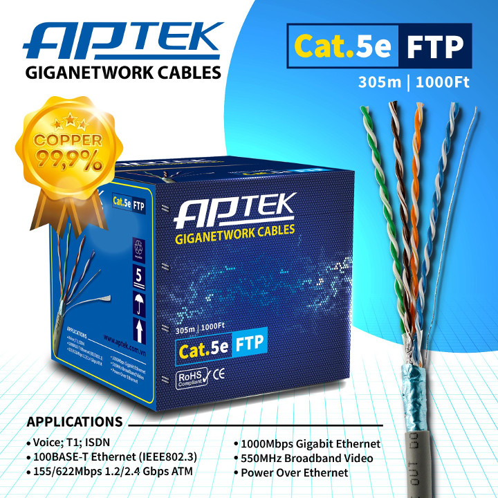 Cáp mạng APTek CAT.5e FTP Copper 305m (530-2113-2)